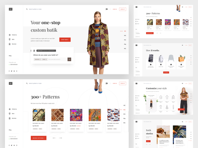 Custom batik platform home page clean website fashion clothing custom web platform batik ecommerce