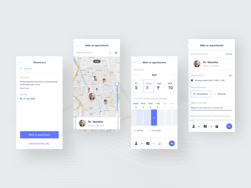 Healthcare Case Study - Make an Appointment Screens immunization timeline appointment doctor concept medical record medical app case study child ui parenting forum measurement baby record health app healthcare healthcare app