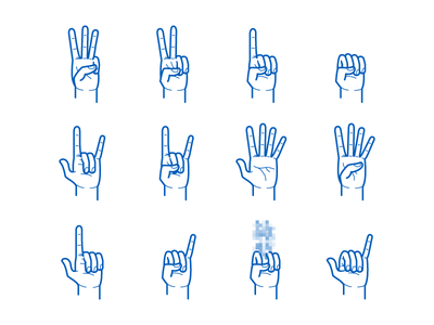 Hand Gesture Pack hand thumb finger gesture pointer like peace sign wave palm fist vector