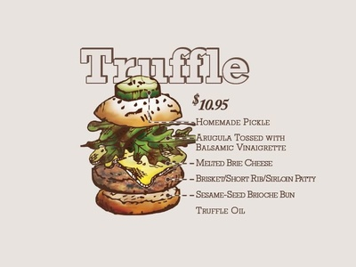 Truffle Burger burger hamburger cheeseburger patty arugula pickle brie brioche delicious