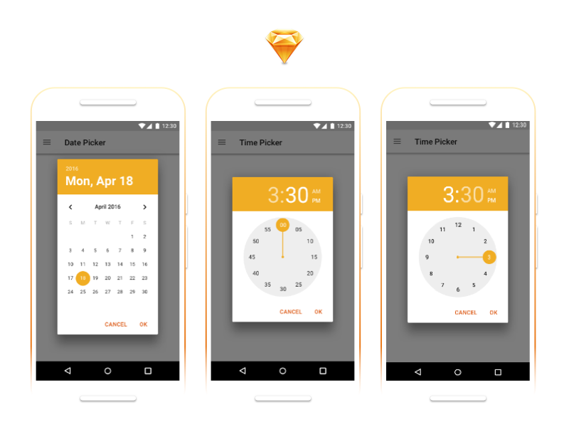 Android Date and Time Pickers - Download resource popover template date picker sketch sketch download download freebie android material design