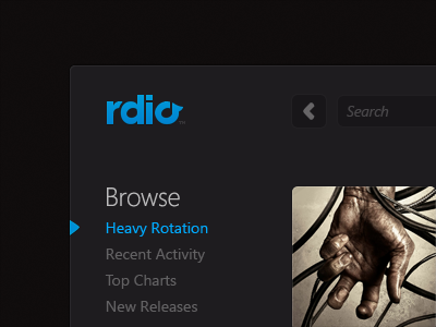 Rdio, Dark Version ui rdio music player desktop windows dark