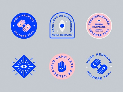 Nora Hermans Badges badge moodboard typographic typography hamsa identity patches badges