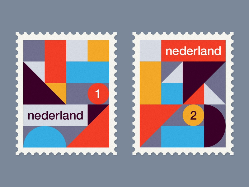 Dutch Stamps serie 1 update modernism holland de stijl netherlands illustration geometric minimal post dutch stamps stamp