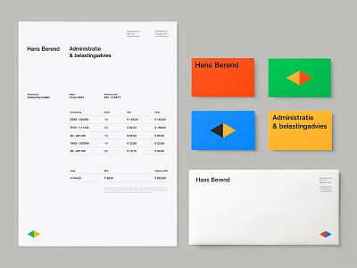 Hans Berend - Identity System color envelope letter branding system arrows netherlands holland simple dutch geometric minimal business cards businesscard a4 letterhead identity