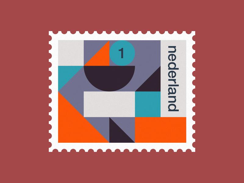 Dutch post stamp 1 2d abstract art clean de stijl dutch geometric holland illustration minimal netherlands pattern simple stamp stamps