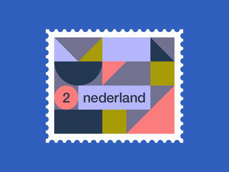 Dutch post stamp 2 stamps stamp simple pattern netherlands minimal illustration holland geometric dutch de stijl clean art abstract 2d