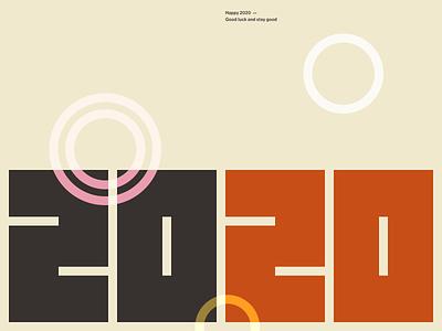 Happy 2020 2d simple geometric typogaphy font minimal 2020 happy new year