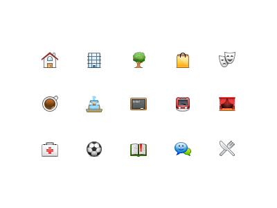 Tiny Icons icons 24px entertainment shopping theater restaurants education