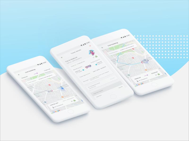 Live Tracking   Ticket Booking app case study daily commute bus ticket ticket booking app travel app live track illustration user interface design