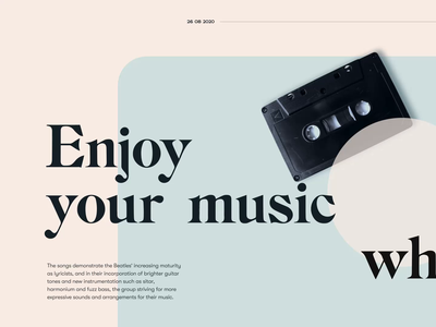 Enjoy your music.. animation and layout practice simple bold font typeface display sans serif web coffee music landing layout scroll animation parallax scrolling ease typography elegant ui animation