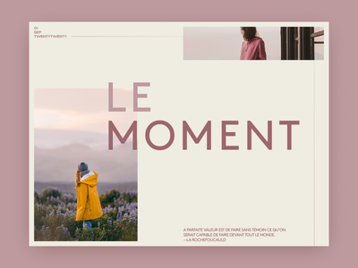 Le moment—layout & type exploration whitespace light bold line minimal simple clean interface yellow images elegant simple typeface layout typography type