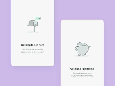 Empty states for the mobile app app mobile ui simple elegant icons gray inbox colors purple bank piggy line illustration empty state empty