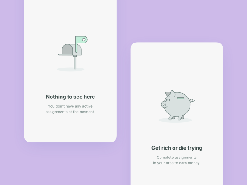Empty states for the mobile app app mobile ui simple elegant icons gray inbox colors purple bank piggy line illustration empty state empty