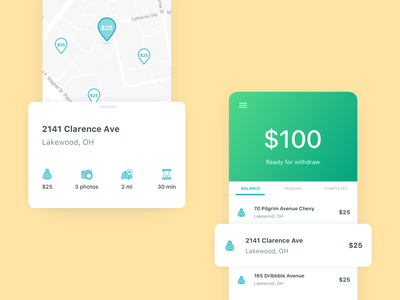 Map and payment screens pins map ios components elegant line icons simple white space green yellow bank payments mobile
