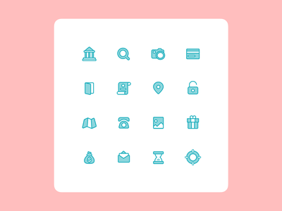 Icons for the mobile app payment card mobile line clean android iphone search location pin message help gift phone time map ui set icons