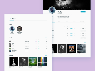 Search & Artist page bold colors profile cover whitespace clean about multitrack track song marketplace audio music follow artist page profile artist results search web ui