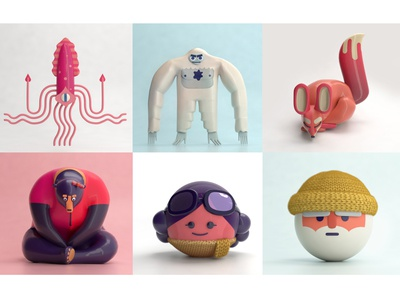 Two Dots 3D Characters