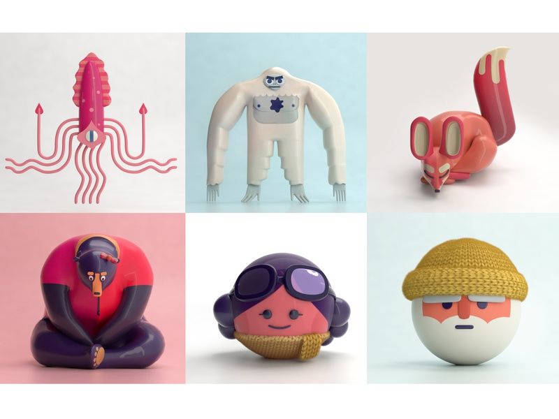 Two Dots 3D Characters maya modo 3-d favorite design characters design art 3d art love colors actionfigures characters plastic ceramic glossy texturing shading modeling rendering 3d