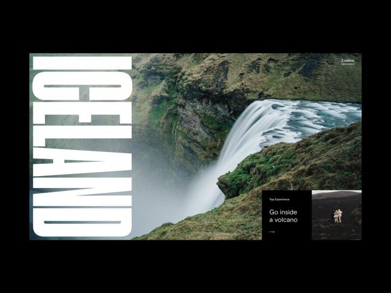 Iceland Destination Website Hero website web ux ui typography travel slider promo bold editorial minimal interface video header hero grid destination