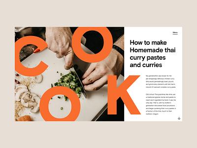 Cooking Website Concept brutalism bold photography header hero editorial flat web design minimal website typography ux ui