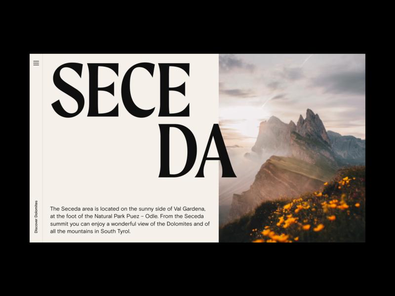 Dolomites Exploration Website Concept layout travel hero bold editorial web design minimal website typography ux ui