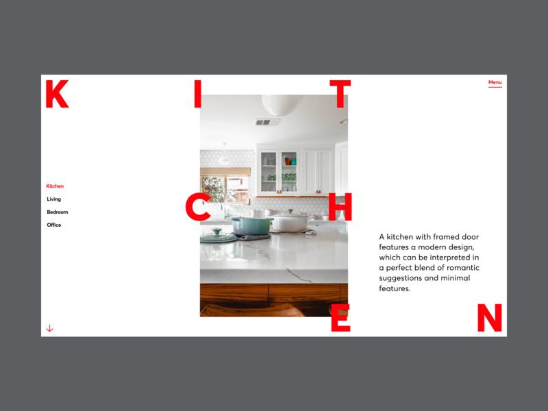 Interior Design Website Concept kitchen interior forniture flat grid web design minimal website typography ux ui