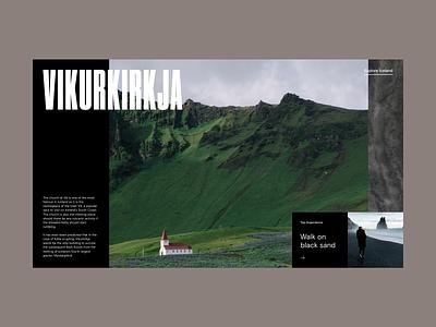 Iceland Exploration Website Slider card slider destination travel hero grid web design minimal website typography ux ui
