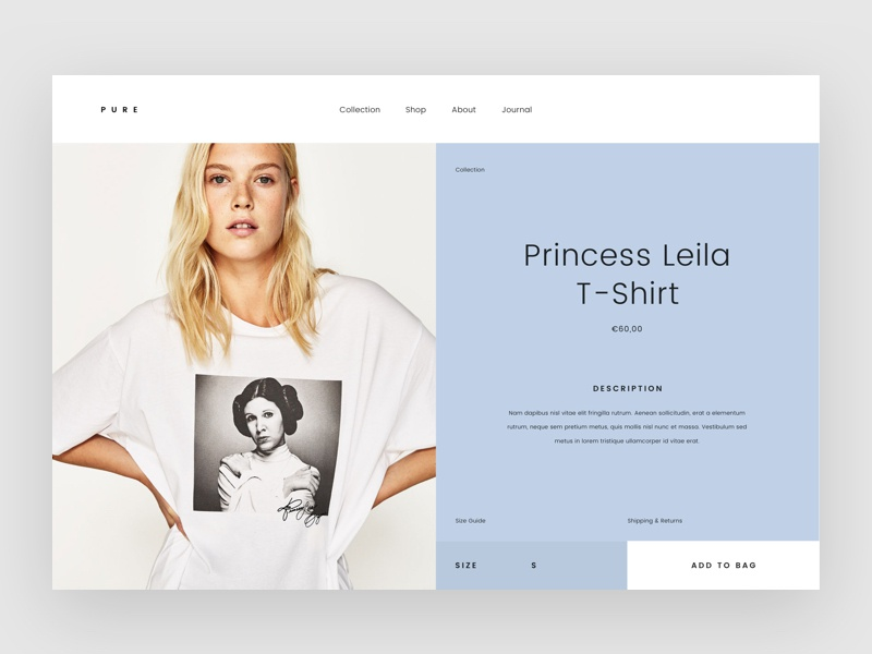 Pure Fashion Product Page daily ui typography model fashion ui ux minimalist detail page product page website