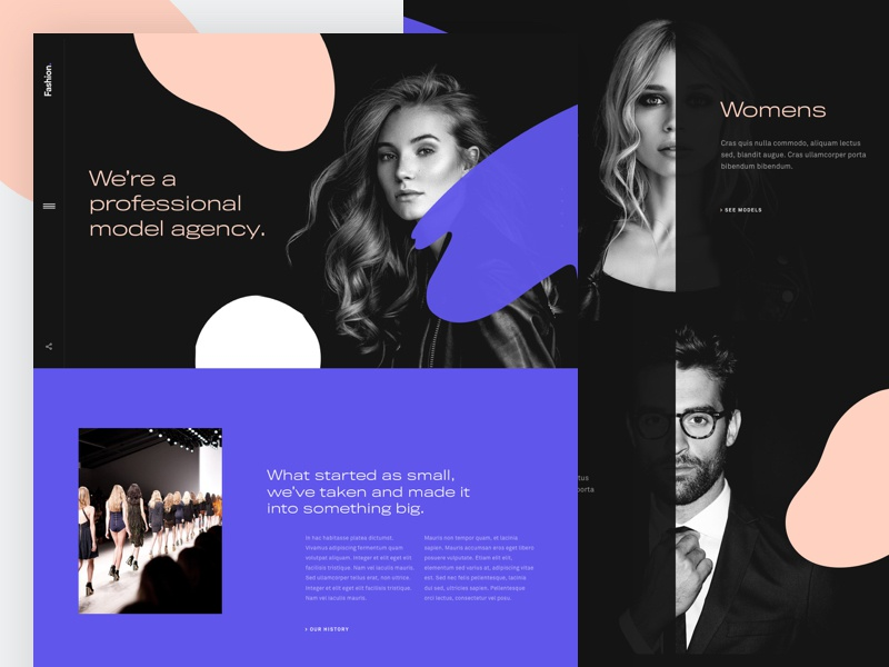 Fashion - Home Page typography website ux ui home landing page desktop agency fashion