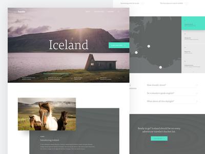 Traveler - Home Page ux ui flat minimal akkurat tisa typography photography home page website travel