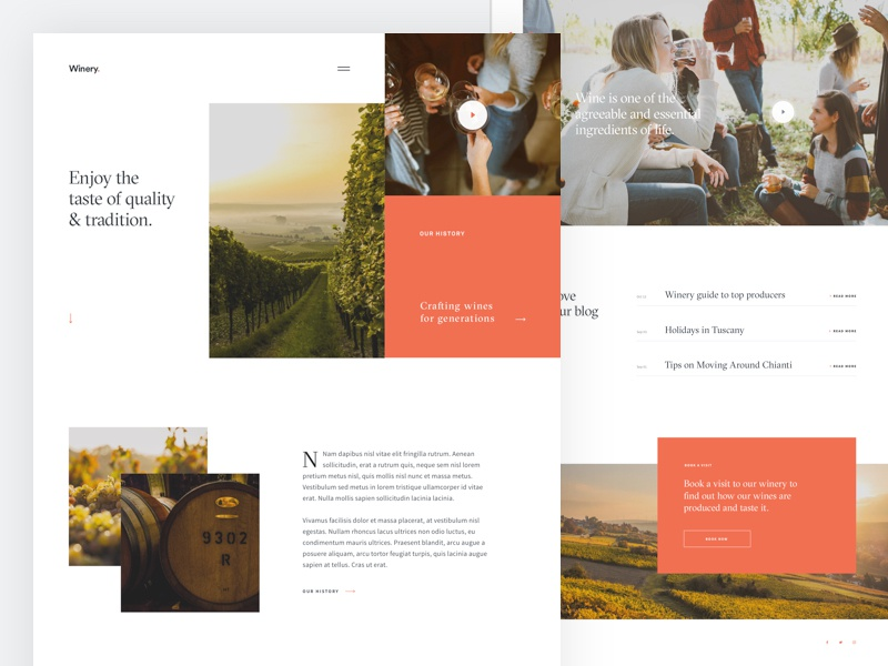 Winery - Home Page home page website wine winery process minimal geometric ux ui