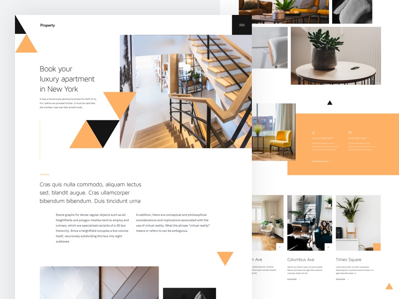 Property - Home Page Variation website ux ui trendy property layout landing page desktop booking apartment