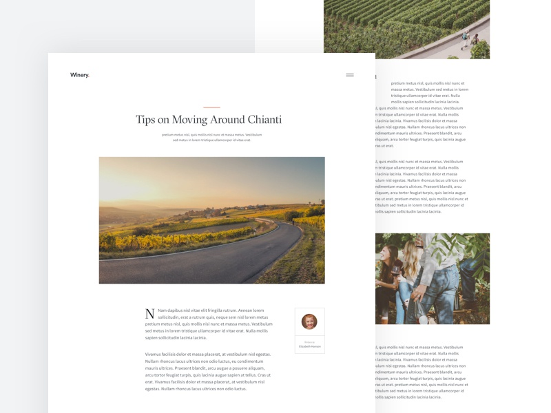 🍷 Winery - Article Page winery wine website ux ui process article page gt sectra fine source sans typography minimal