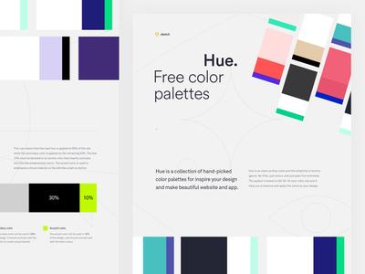 Hue - Free Color Palettes flat design minimal ux ui app design web design art direction design process color palette color theory download freebie