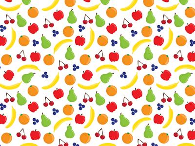 Fruits apple cherry pear banana blueberry orange pattern fruit
