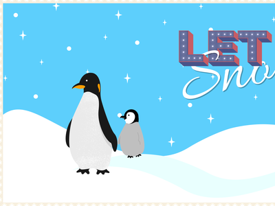 Penguins illustration typography animal snow winter penguins