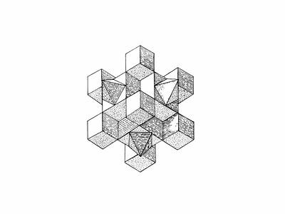 Cubical art geometric geometric art geometrical shapes geometric illustration dotwork doodles geometry design black  white fineliner black and white lineart illustration handdrawn