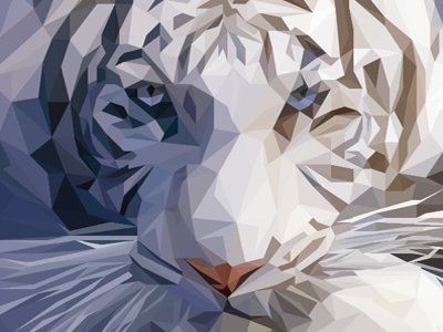 Lowpoly White Tiger