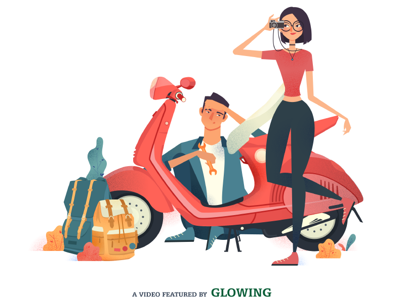 La Em / It's You Poster journey vietnam glowingstudio travel crush vespa pink couple lovestory motion cartoon shortfilm
