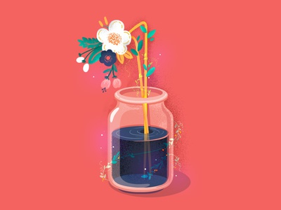 36DaysofType 36daysoftype logo plant fantasy number jar nature 36days1 flower illustration icon typography