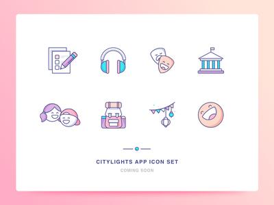 Citylights App Icon Set bank headphones music smile festival adventure kids app ux ui illustration icons