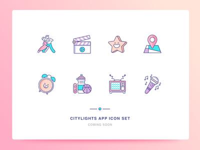 Citylights App Icon Set 2 star like music sports clock location movies dance app ui illustration icons