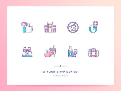 Citylights App Icons Set 3 breakfast location like camera food search icons ui illustration