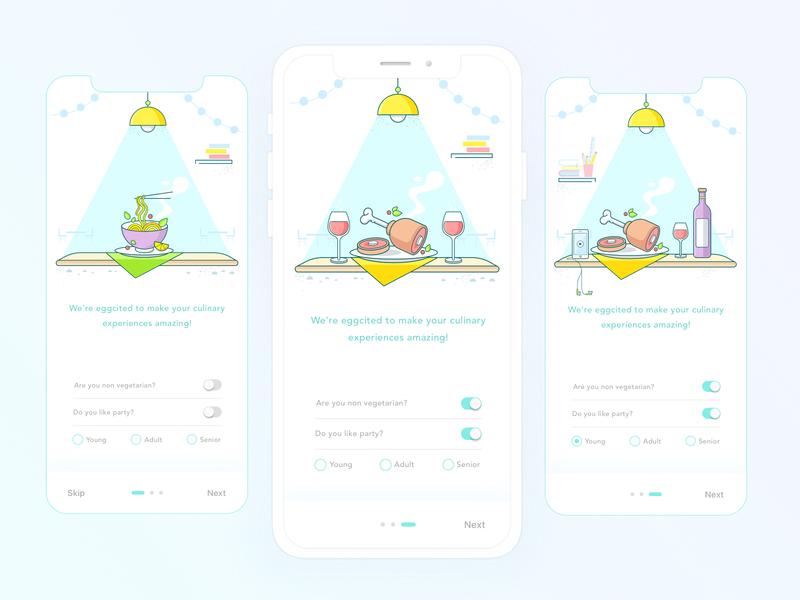 Burrp Food App - Onboarding typography logo app mockup screen illustration veg food ui onboarding icons