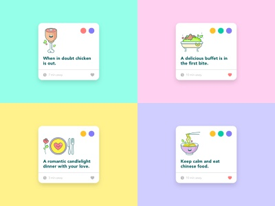 Burrp! Food App Icon Set like romantic buffet italian dinner chicken food interaction card ui typography logo icon illustration