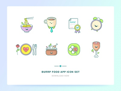 burrp! Food App Icon Set web app food and beverage non veg chicken south indian biryani romantic dinner happy hour certified coffee chinese food app food ui icon illustration