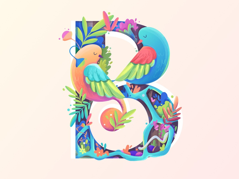 B for Bird login page cards onboarding jungle plants landing page bird letter branding logo nature 36daysoftype typography icon illustration
