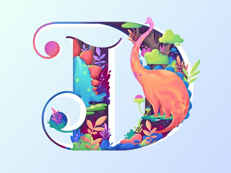 D for Dinosaur branding jungle dinosaur website onboarding adventure landing page app fantasy plant ui nature letter icon logo 36daysoftype typography illustration