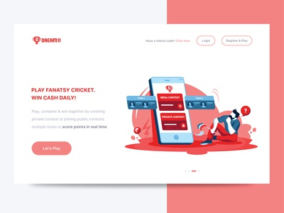 Dream11 Onboarding screen cards play login icons empty state onboarding onboarding screens onboarding ui website web app football cricket ux branding vector ui typography icon illustration